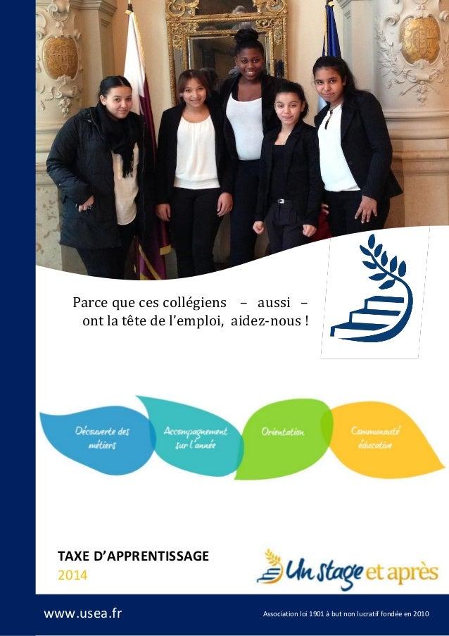 Parce que ces collégiens – aussi – ont la tête de l'emploi, aidez-nous !  TAXE D'APPRENTISSAGE 2014 www.usea.fr  Associati...