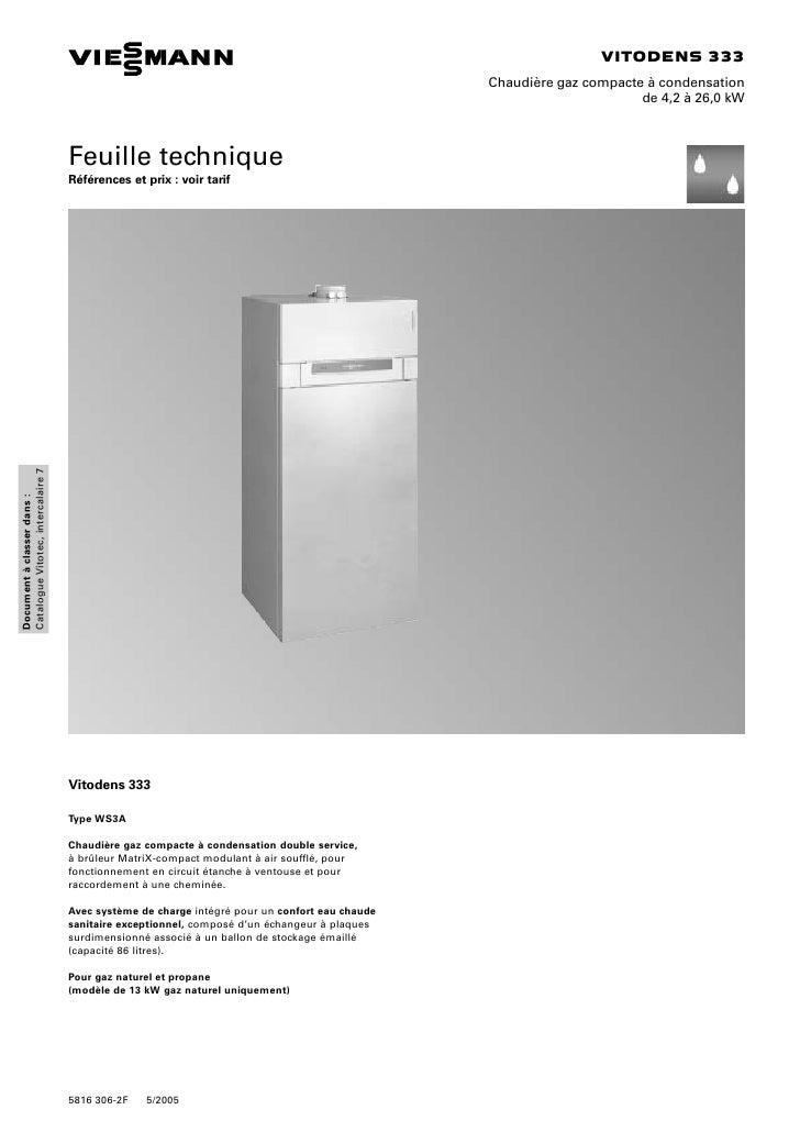 Documentation technique chaudiere viessmann vitodens - Chaudiere viessmann vitodens 333 ...