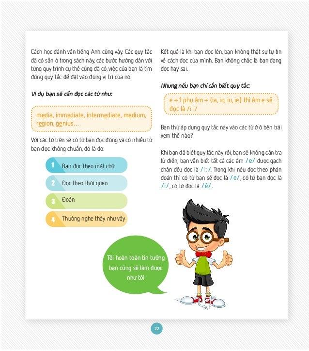 22 Cách học đánh vần tiếng Anh cũng vậy. Các quy tắc đã có sẵn ở trong sách này, các bước hướng dẫn với từng quy trình cụ ...