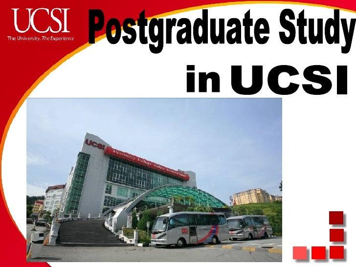UCSI in Postgraduate Study