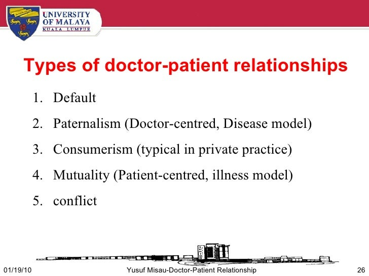 doctor patient relationship Chapter one: the doctor-patient relationship: a review an excerpt from organization and information at the bed-side the dissertation of j hughes phd.