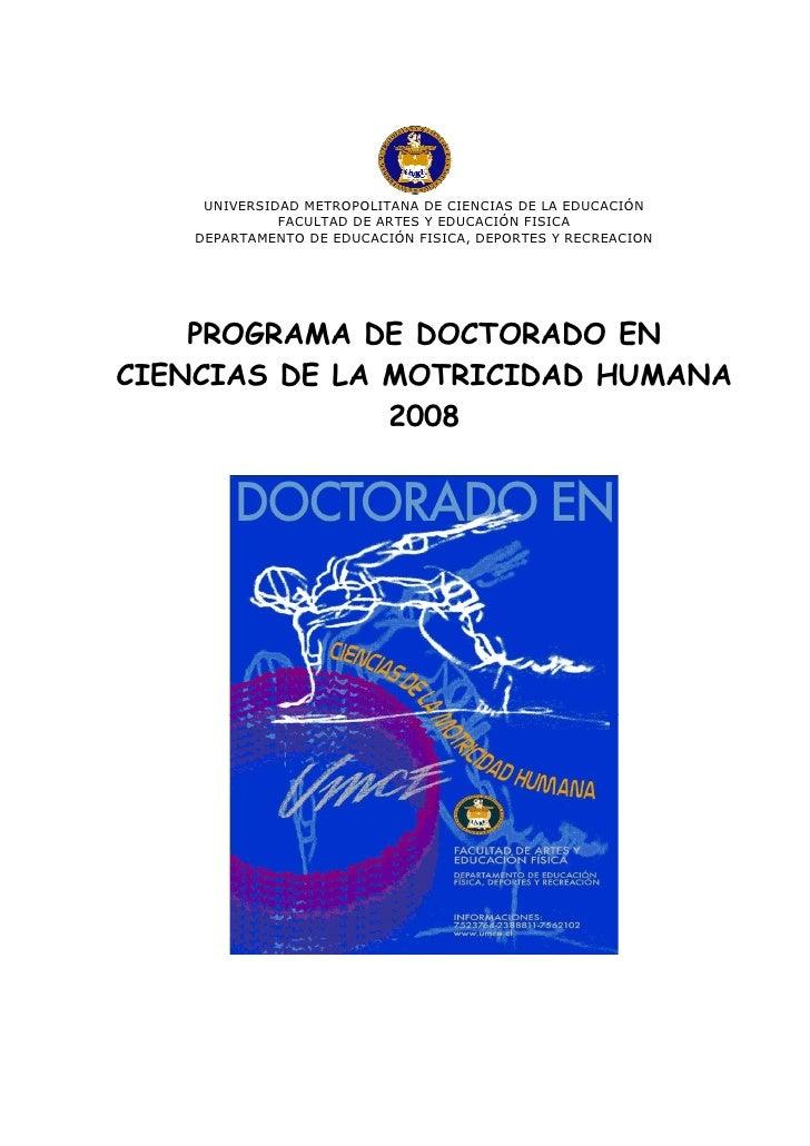 UNIVERSIDAD METROPOLITANA DE CIENCIAS DE LA EDUCACIÓN               FACULTAD DE ARTES Y EDUCACIÓN FISICA     DEPARTAMENTO ...