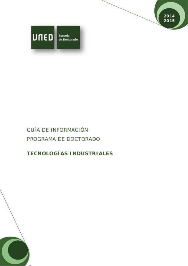 Doctorado En Tecnologías Industriales Uned