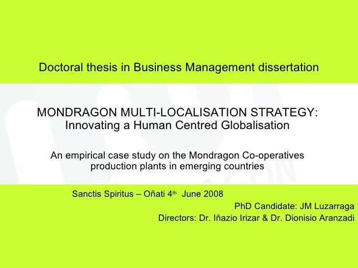Doctoral thesis in strategic management
