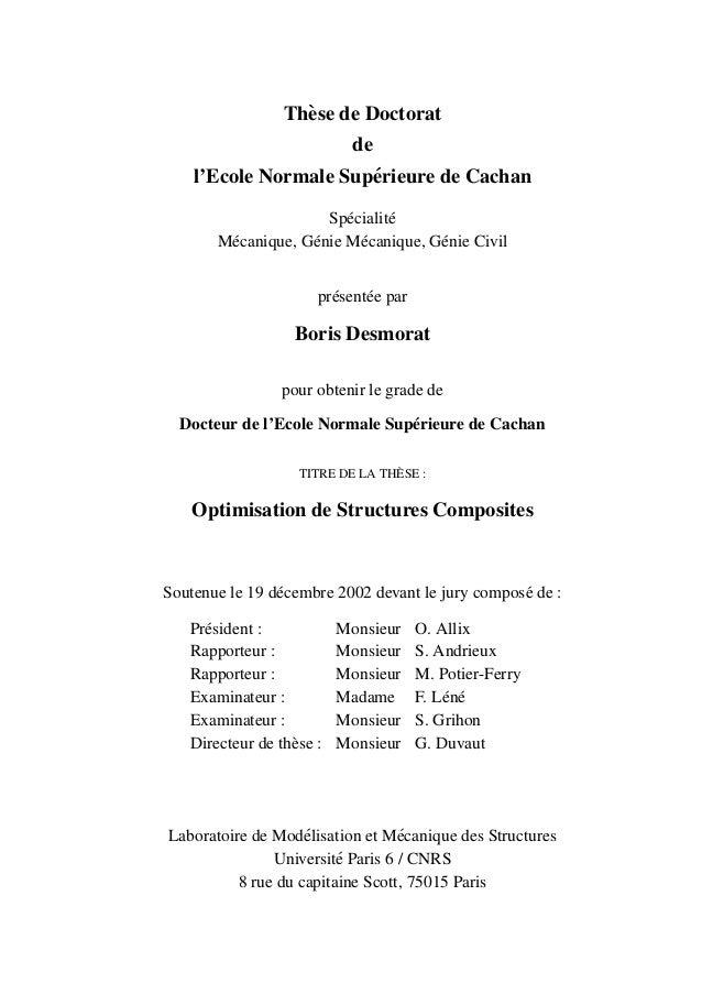 Th`ese de Doctorat de l'Ecole Normale Sup´erieure de Cachan Sp´ecialit´e M´ecanique, G´enie M´ecanique, G´enie Civil pr´es...