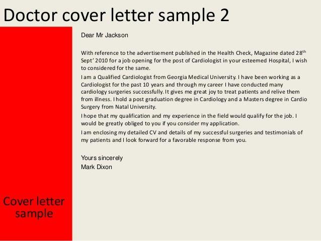 sample doctor cover letter