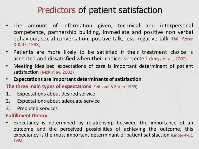 theories of patient satisfaction Effects of telepsychiatry on the doctor-patient relationship: communication, satisfaction, and relevant issues.