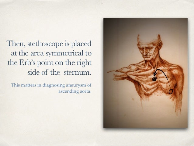 Then, stethoscope is placed at the area symmetrical to the Erb's point on the right side of the sternum. This matters in d...