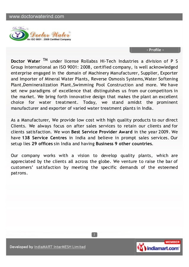 Doctor Water, Kolkata, Water Treatment and Softening Plant Slide 2