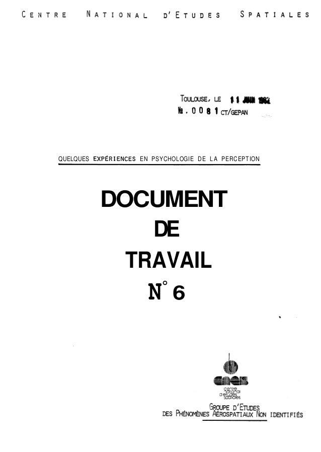 QUELQUES EXPÉRIENCES EN PSYCHOLOGIE DE LA PERCEPTION  DOCUMENT  DE  TRAVAIL  No 6