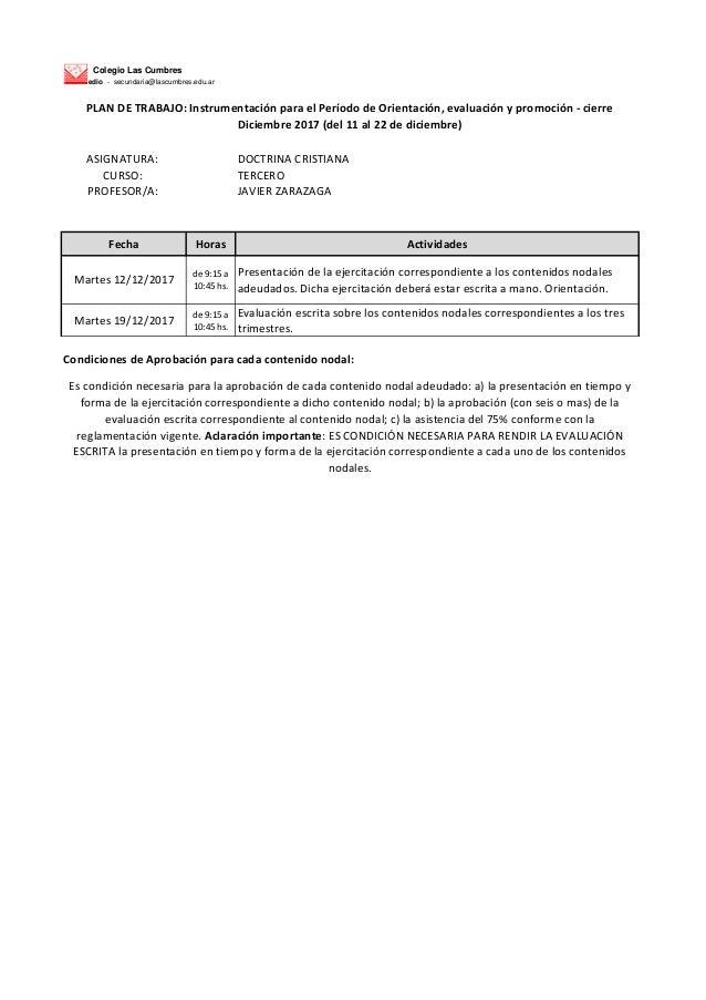 Colegio Las Cumbres Nivel Medio - secundaria@lascumbres.edu.ar ASIGNATURA: DOCTRINA CRISTIANA CURSO: TERCERO PROFESOR/A: J...