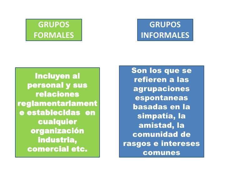 GRUPOS FORMALES<br />GRUPOS INFORMALES<br />Son los que se refieren a las agrupaciones espontaneas basadas en la simpatía,...