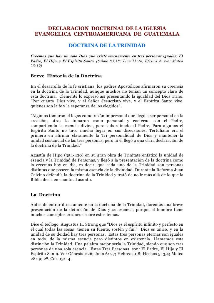 DECLARACION DOCTRINAL DE LA IGLESIA   EVANGELICA CENTROAMERICANA DE GUATEMALA                      DOCTRINA DE LA TRINIDAD...