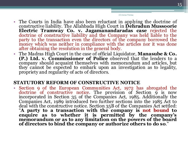 doctrine of constructive notice and indoor management pdf