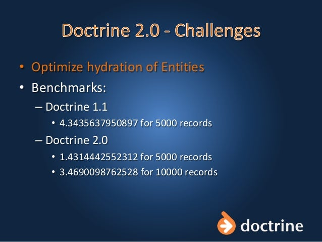 • Optimize hydration of Entities • Benchmarks: – Doctrine 1.1 • 4.3435637950897 for 5000 records – Doctrine 2.0 • 1.431444...