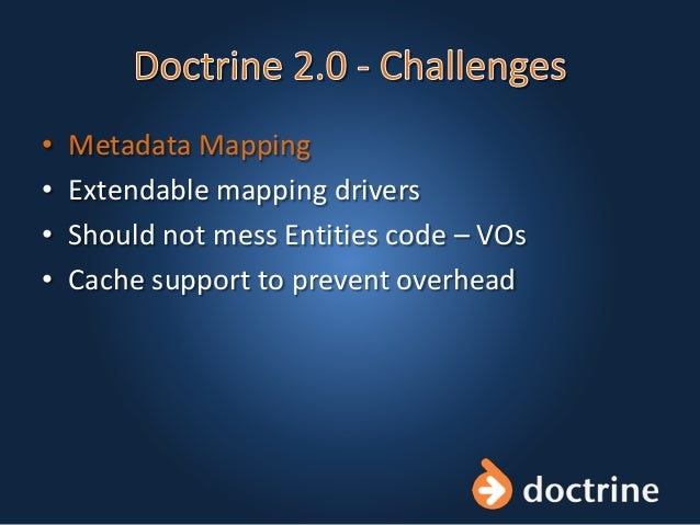 • Metadata Mapping • Extendable mapping drivers • Should not mess Entities code – VOs • Cache support to prevent overhead