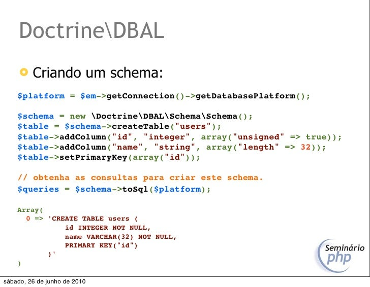 DoctrineDBAL         Criando um schema:     $platform = $em->getConnection()->getDatabasePlatform();      $schema = new D...