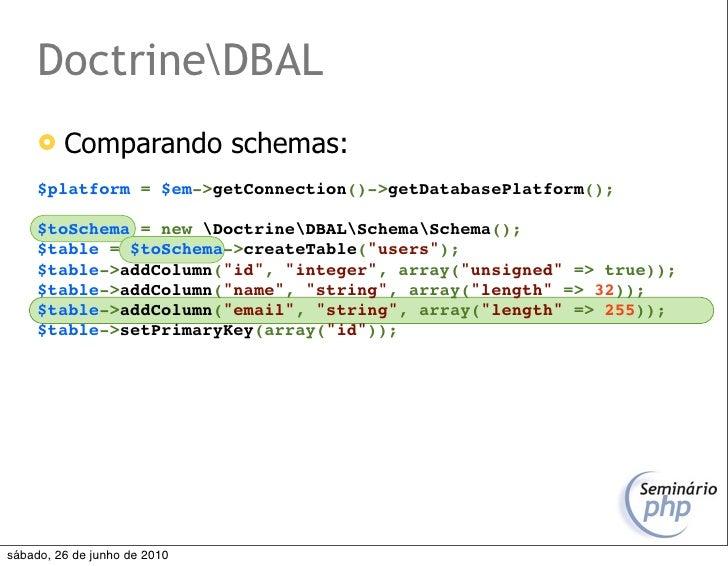 DoctrineDBAL         Comparando schemas:      $platform = $em->getConnection()->getDatabasePlatform();       $toSchema = ...