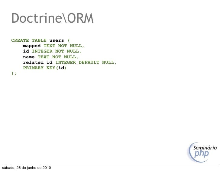 DoctrineORM      CREATE TABLE users (          mapped TEXT NOT NULL,          id INTEGER NOT NULL,          name TEXT NOT ...