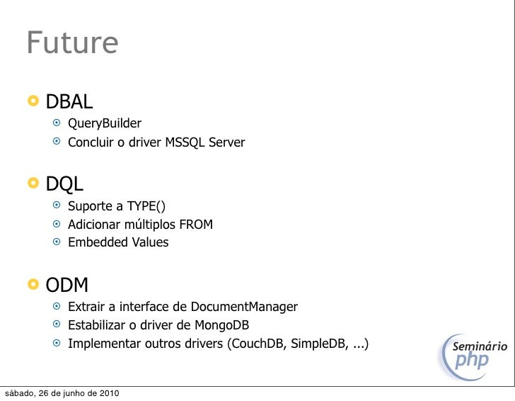 Future         DBAL             QueryBuilder             Concluir o driver MSSQL Server            DQL             Su...