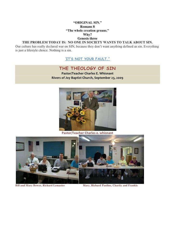 Doctrine Of Sin Outline 09 23 09