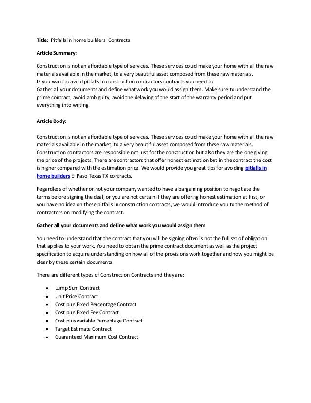 Famous Home Building Contract Template Pattern Example Resume And - Home building contract template