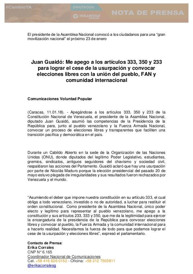 Contacto de Prensa: Erika Corrales CNP N° 6.165 Coordinador Nacional de Comunicaciones Cel. +58 416 626 0152 - Oficina: +5...
