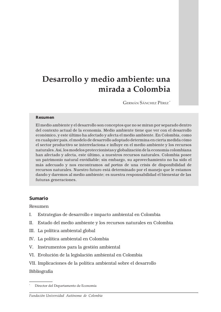 DESARROLLO Y MEDIO AMBIENTE: UNA MIRADA A COLOMBIA          79         Desarrollo y medio ambiente: una                   ...