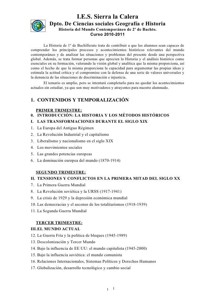 I.E.S. Sierra la Calera            Dpto. De Ciencias sociales Geografía e Historia                  Historia del Mundo Con...