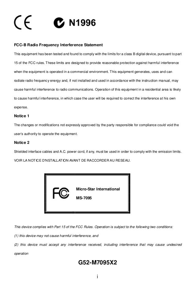 i FCC-B Radio Frequency Interference Statement This equipment has been tested and found to comply with the limits for a cl...