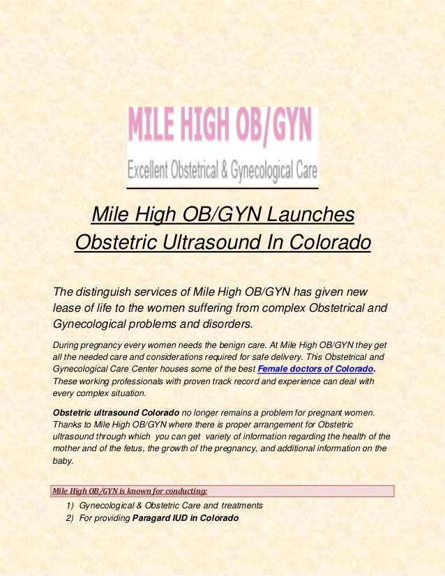 Mile High Obgyn Launches Obstetric Ultrasound In Colorado