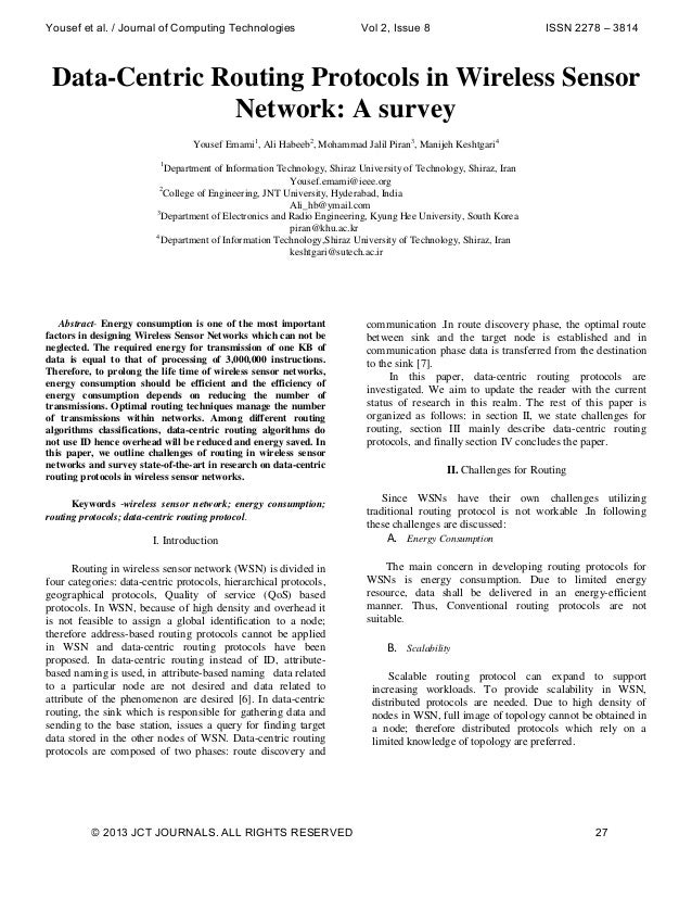 Yousef et al. / Journal of Computing Technologies  Vol 2, Issue 8  ISSN 2278 – 3814  Data-Centric Routing Protocols in Wir...