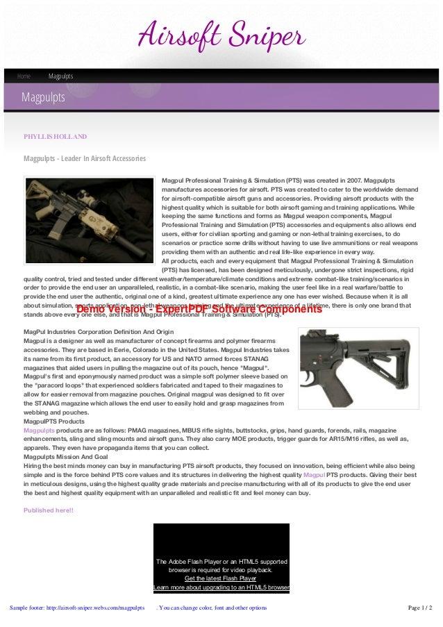 Airsoft Sniper Home  Magpulpts  Magpulpts PHYLLISHOLLAND  Magpulpts - Leader In Airsoft Accessories Magpul Professional T...