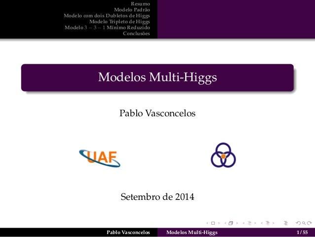 Resumo  Modelo Padr˜ao  Modelo com dois Dubletos de Higgs  Modelo Tripleto de Higgs  Modelo 3