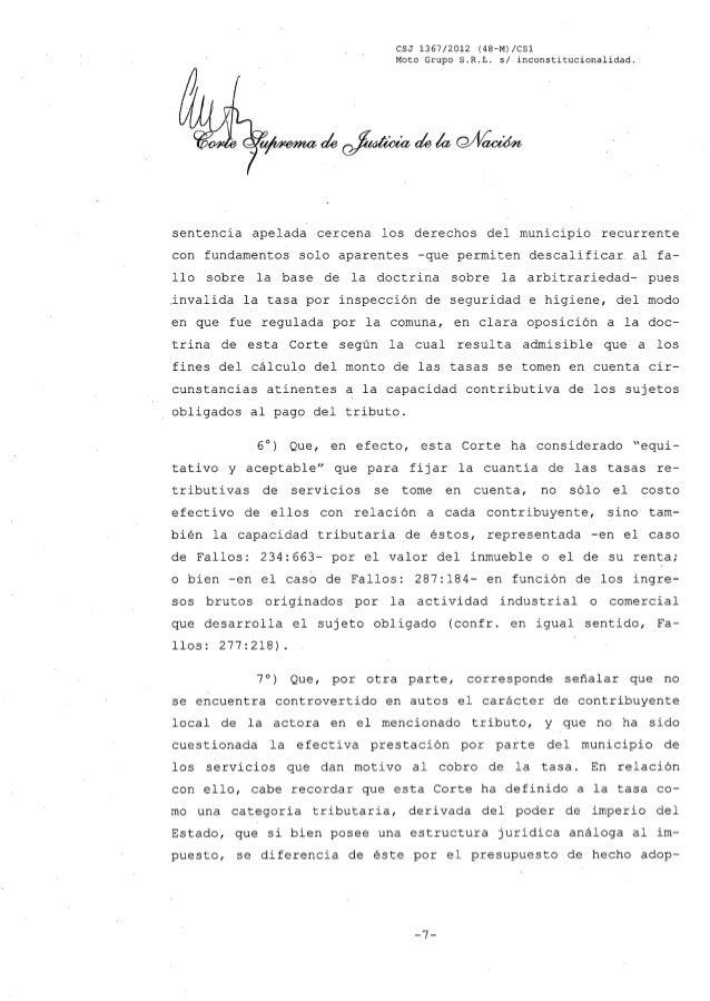 CSJ 1367/2012 (48-M)/CS1 Moto Grupo S.R.L. s/ inconstitucionalidad. sentencia apelada cercena los derechos del municipio r...