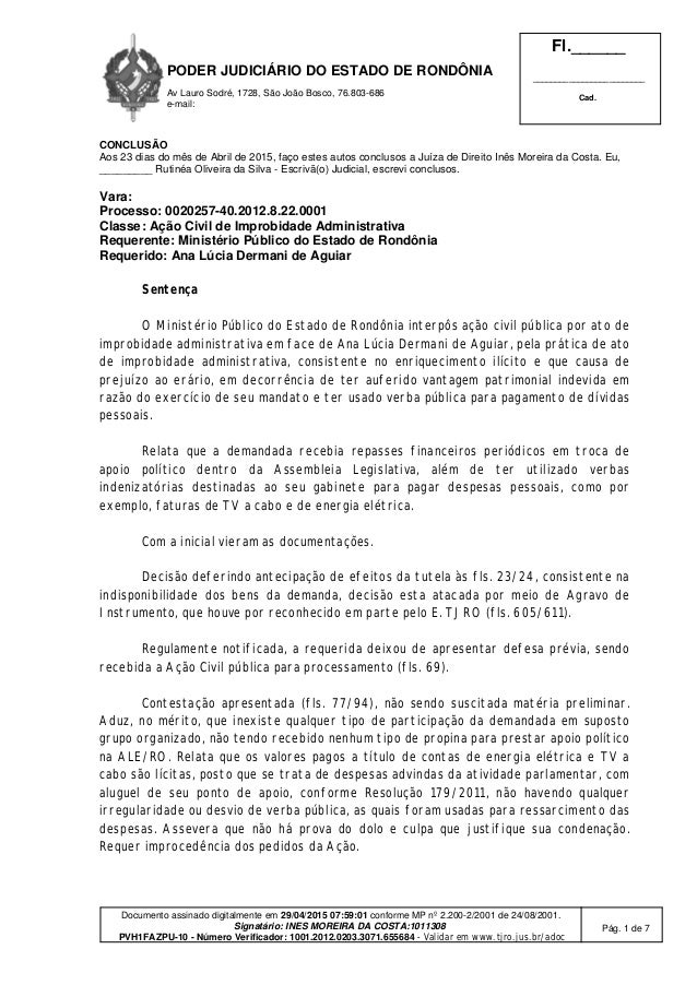 PODER JUDICIÁRIO DO ESTADO DE RONDÔNIA Av Lauro Sodré, 1728, São João Bosco, 76.803-686 e-mail: Fl.______ ________________...
