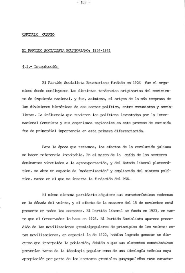 - 109 . CAPITULO CUARI'O EL PARrIOO SOCIALISTA ECUA'IDRTANO: 1926-1931 4.1.- Introducción El Partido Socialista Ecuatoria...