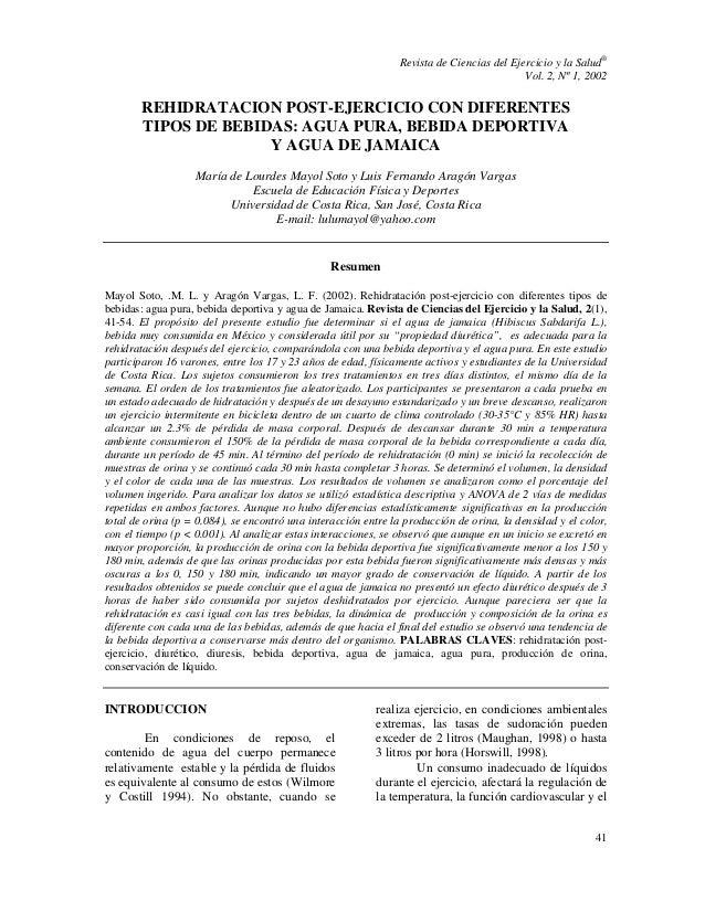 Revista de Ciencias del Ejercicio y la Salud® Vol. 2, Nº 1, 2002 41 REHIDRATACION POST-EJERCICIO CON DIFERENTES TIPOS DE B...