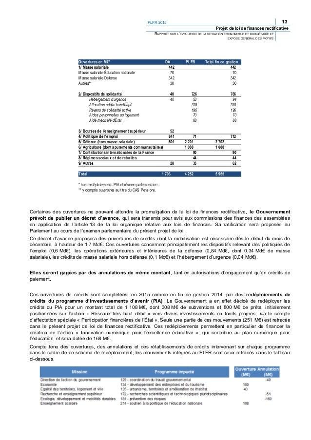 PLFR 2015 15 Projet de loi de finances rectificative RAPPORT SUR L'ÉVOLUTION DE LA SITUATION ÉCONOMIQUE ET BUDGÉTAIRE ET E...