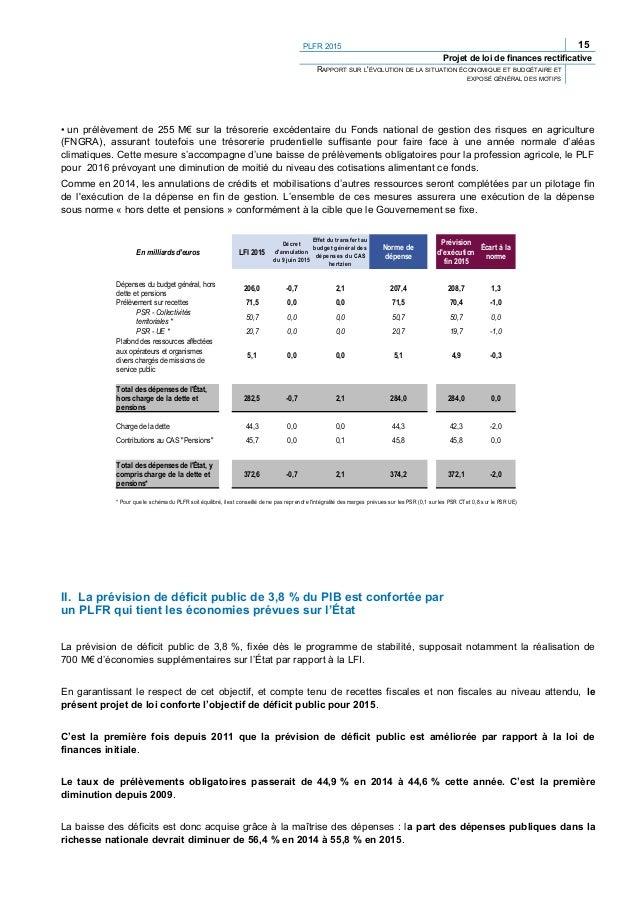 PLFR 2015 17 Projet de loi de finances rectificative RAPPORT SUR L'ÉVOLUTION DE LA SITUATION ÉCONOMIQUE ET BUDGÉTAIRE ET E...
