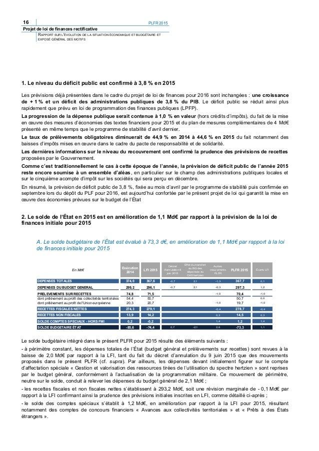 18 PLFR 2015 Projet de loi de finances rectificative RAPPORT SUR L'ÉVOLUTION DE LA SITUATION ÉCONOMIQUE ET BUDGÉTAIRE ET E...