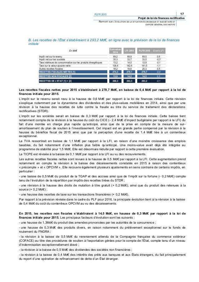 PLFR 2015 19 Projet de loi de finances rectificative RAPPORT SUR L'ÉVOLUTION DE LA SITUATION ÉCONOMIQUE ET BUDGÉTAIRE ET E...