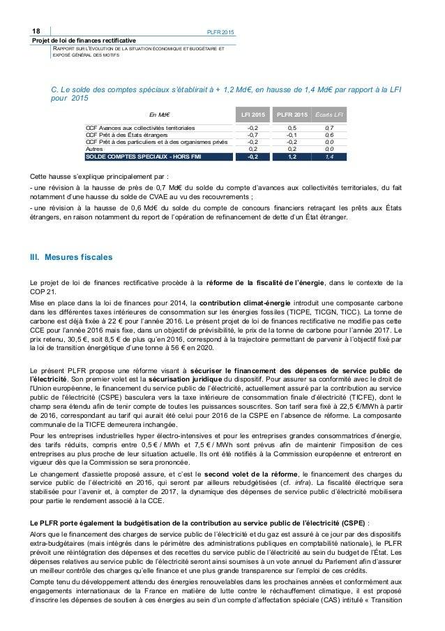 20 PLFR 2015 Projet de loi de finances rectificative RAPPORT SUR L'ÉVOLUTION DE LA SITUATION ÉCONOMIQUE ET BUDGÉTAIRE ET E...