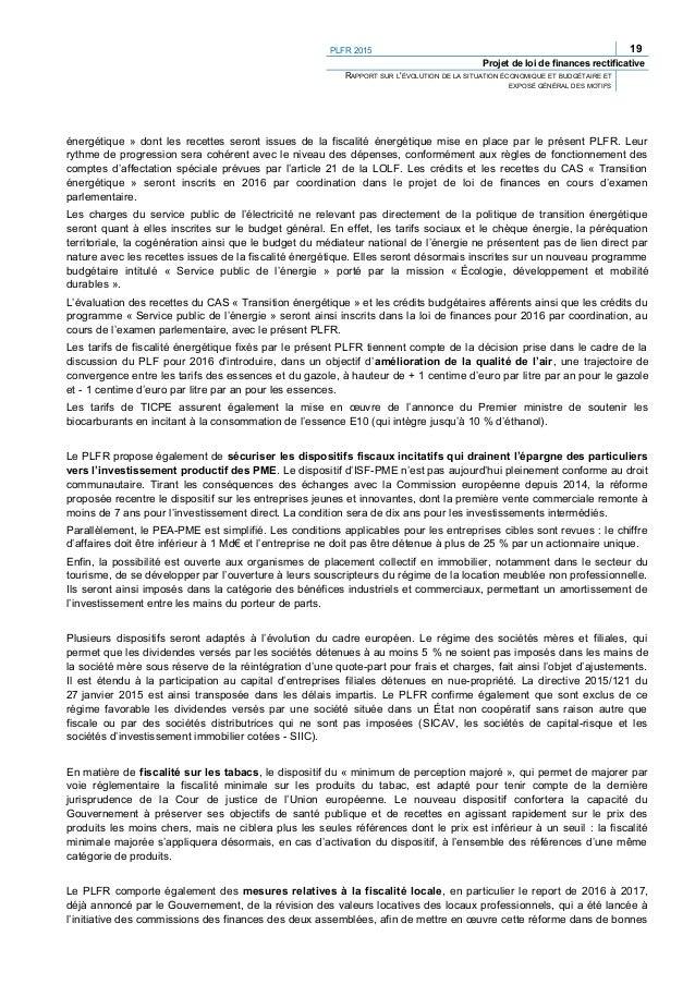 PLFR 2015 21 Projet de loi de finances rectificative RAPPORT SUR L'ÉVOLUTION DE LA SITUATION ÉCONOMIQUE ET BUDGÉTAIRE ET E...