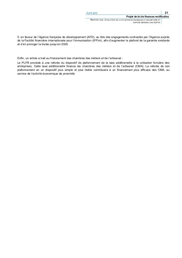 24 PLFR 2015 Projet de loi de finances rectificative ARTICLES DU PROJET DE LOI ET EXPOSÉ DES MOTIFS PAR ARTICLE PROJET DE ...