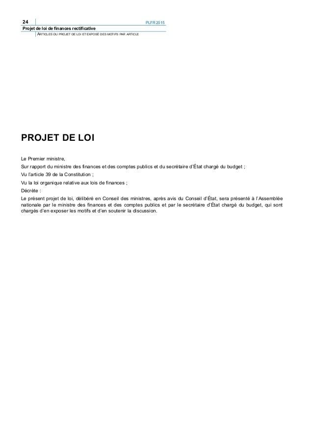 PLFR 2015 27 Projet de loi de finances rectificative ARTICLES DU PROJET DE LOI ET EXPOSÉ DES MOTIFS PAR ARTICLE Ille-et-Vi...