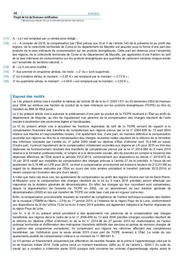 PLFR 2015 33 Projet de loi de finances rectificative ARTICLES DU PROJET DE LOI ET EXPOSÉ DES MOTIFS PAR ARTICLE Article 3 ...