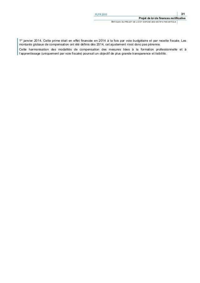 34 PLFR 2015 Projet de loi de finances rectificative ARTICLES DU PROJET DE LOI ET EXPOSÉ DES MOTIFS PAR ARTICLE (24) « Cha...