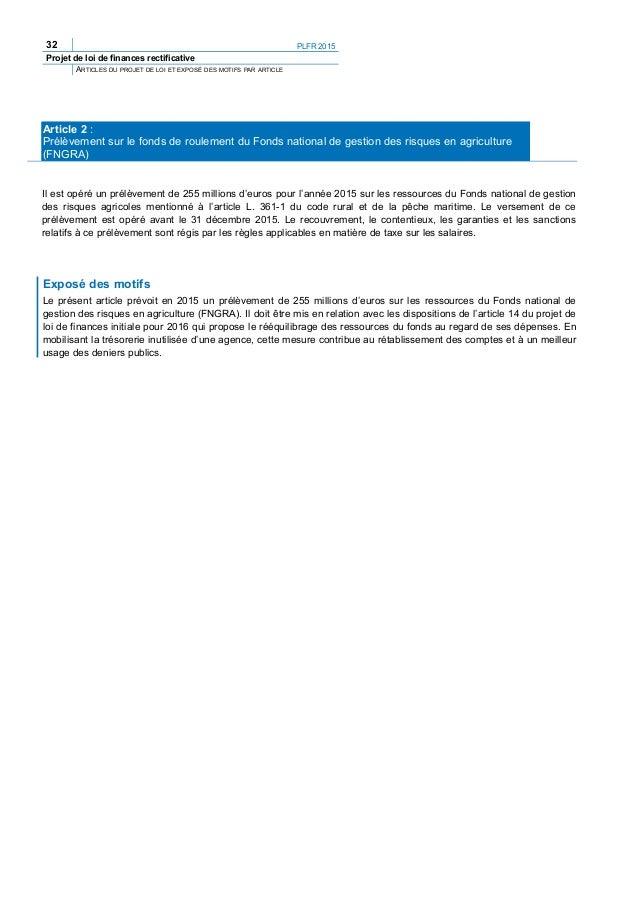 PLFR 2015 35 Projet de loi de finances rectificative ARTICLES DU PROJET DE LOI ET EXPOSÉ DES MOTIFS PAR ARTICLE (50) 14° L...