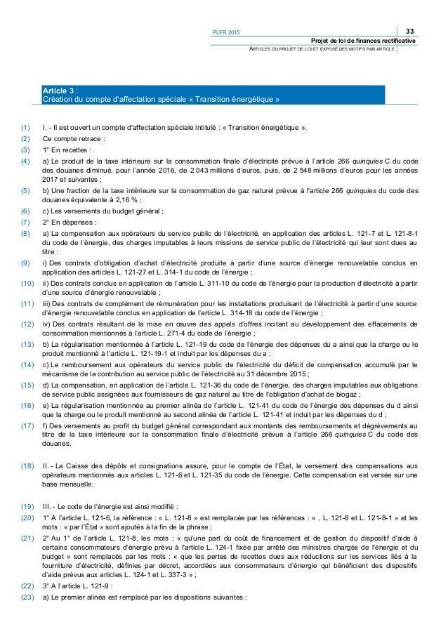 36 PLFR 2015 Projet de loi de finances rectificative ARTICLES DU PROJET DE LOI ET EXPOSÉ DES MOTIFS PAR ARTICLE (71) « 5° ...
